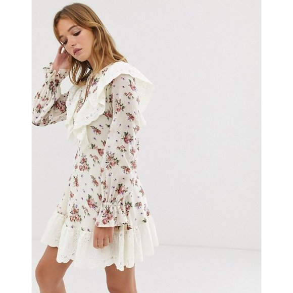 ASOS DESIGN Long-Sleeve Floral Eyelet Ruffle Dress